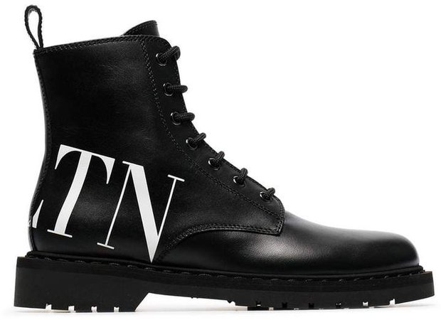 logo printed leather boots