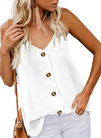 BLENCOT Women's Button Down V Neck Strappy Tank Tops Loose Casual Sleeveless Shirts Blouses at Amazon Women's Clothing store