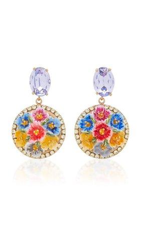 Gold-Tone, Crystal And Enamel Clip Earrings by Dolce & Gabbana | Moda Operandi
