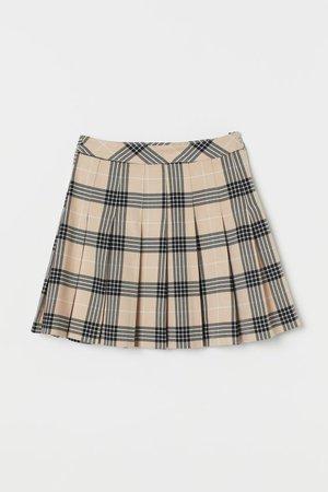 Pleated Skirt - Beige/checked - Ladies | H&M US