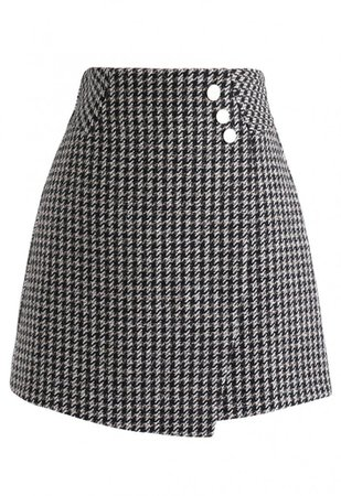 Houndstooth Button Flap Mini Skirt in Black - Skirt - BOTTOMS - Retro, Indie and Unique Fashion