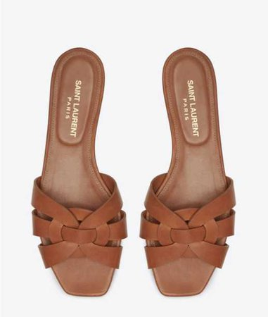 YSL YVES SAINT LAURENT TRIBUTE FLAT SANDALS IN SMOOTH LEATHER
