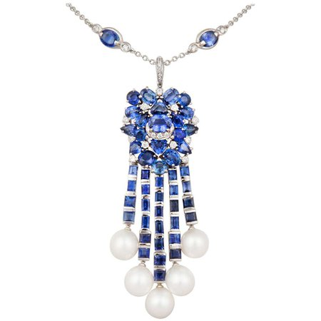 Ella Gafter Blue Sapphire Diamond Pendant Necklace with South Sea Pearls For Sale at 1stDibs