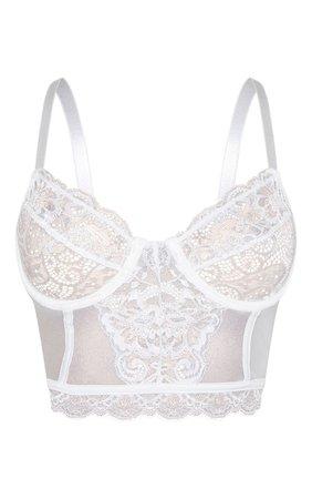 White Lace Underwired Longline Bra | PrettyLittleThing