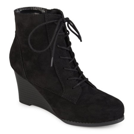 Brinley Co. - Womens Lace-up Faux Suede Stacked Wedge Booties - Walmart.com - Walmart.com