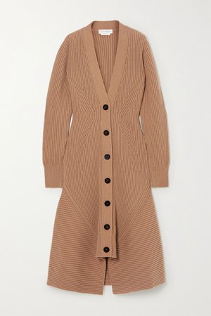 Camel Ribbed wool and cashmere-blend coat | Alexander McQueen | NET-A-PORTER