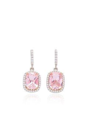 18K White Gold Vermeil, Morganite, And Diamond Earrings by Anabela Chan | Moda Operandi