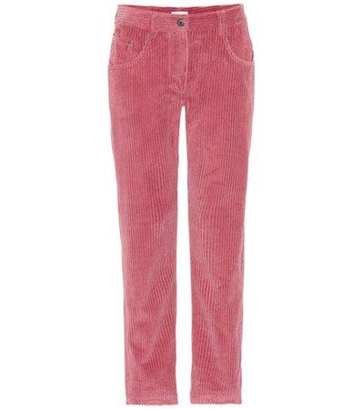 Corduroy straight-leg pants