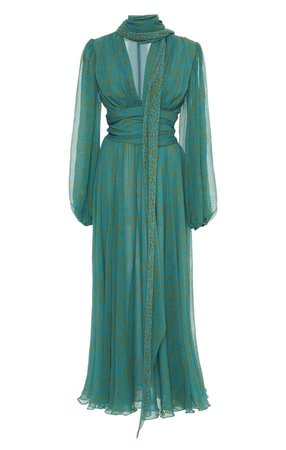 Luisa Beccaria Printed Chiffon Maxi Dress