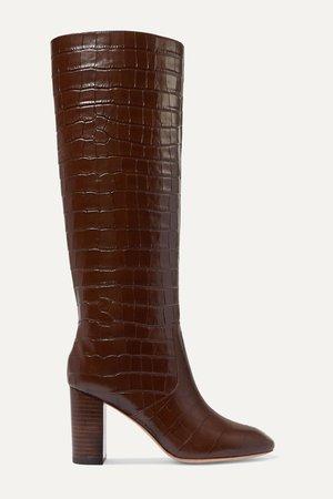 Brown Goldy croc-effect leather knee boots   Loeffler Randall   NET-A-PORTER