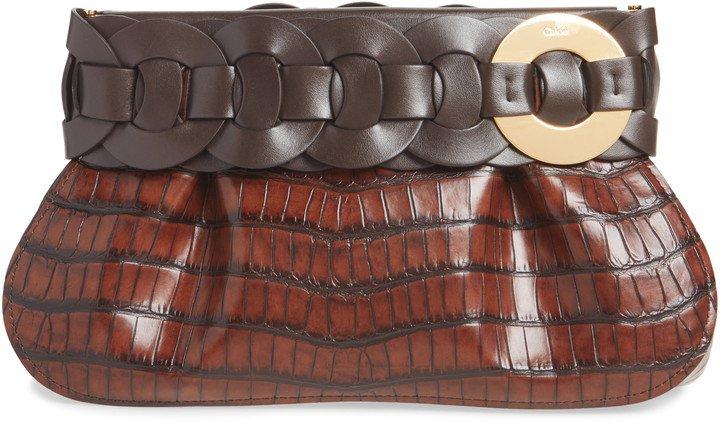 Darryl Croc Embossed Leather Clutch