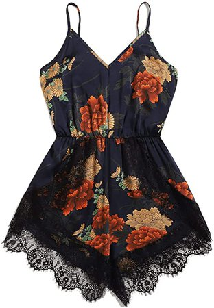 Amazon.com: MAKEMECHIC Women's Summer Plus Strap Knot Back Tropical Print Elastic Waist Casual Loose Romper Jumpsuit: Clothing