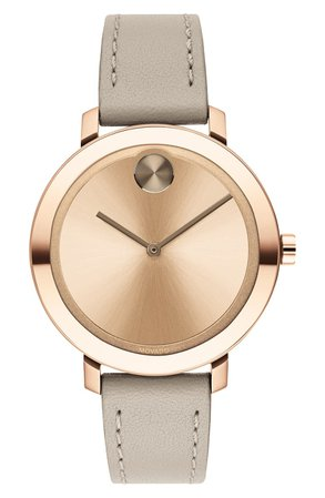 Movado Bold Leather Strap Watch, 34mm | Nordstrom