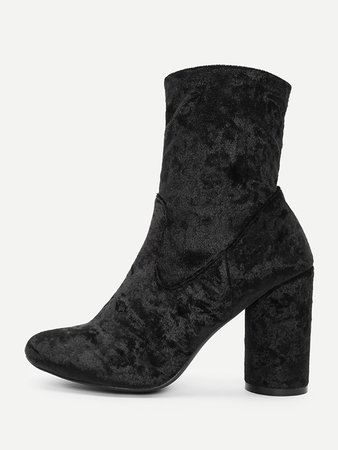 Crushed Velvet Ankle Boots