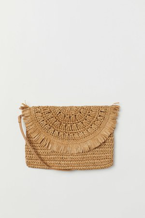 Straw Shoulder Bag - Beige