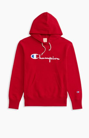 Script Logo Reverse Weave Hoodie   Champion