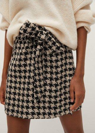 Houndstooth belt miniskirt - Women | Mango USA
