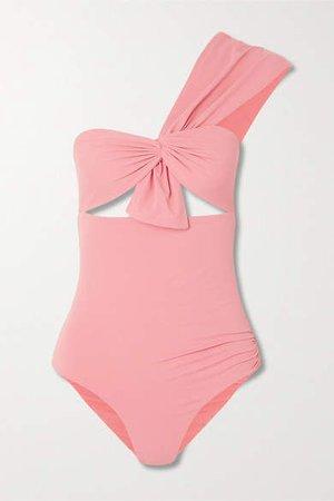 Venice One-shoulder Cutout Swimsuit - Coral