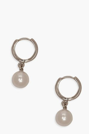 Pearl Pendant Huggie Hoop Earrings | Boohoo