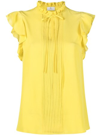 Shop yellow Etro ruffle detail blouse with Express Delivery - Farfetch