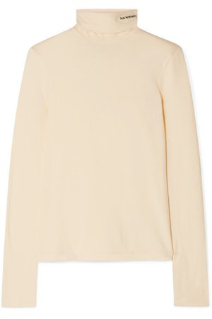 CALVIN KLEIN 205W39NYC | Embroidered cotton-jersey turtleneck top | NET-A-PORTER.COM