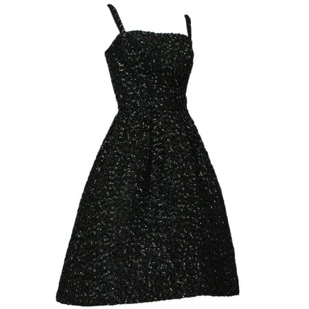 Pavé Sequin Circle Dress with Graduated Hemline, 1950s For Sale at 1stdibs