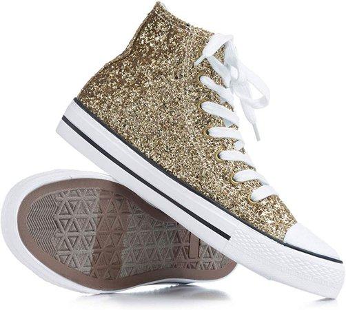 Amazon.com | Double Platinum Adult Glitter High Top Sneaker GLITTERGOLD07.5 Gold 7.5 M US | Fashion Sneakers