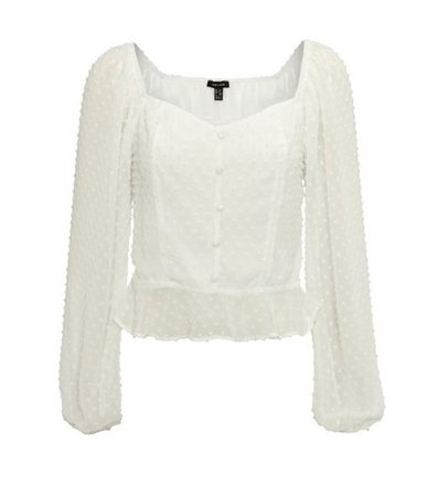 Off White Spot Square Neck Button Up Blouse | New Look