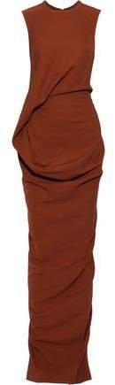 Split-back Draped Crepe Gown