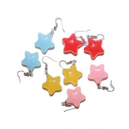 Cuite Patootie Star Earrings kawaii rainbow red blue pink   Etsy