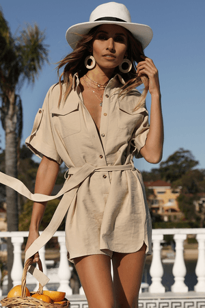 Runaway The Label THE WEEKEND PLAYSUIT - TAN