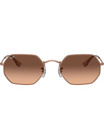 Ray-Ban Rb3556N Octagonal Sunglasses RB3556N9069A5 Gold | Farfetch