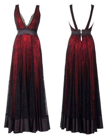 dress, red dress, red, black dress, black, goth, gothic dress - Wheretoget