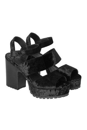Black Velvet Sandals Heels