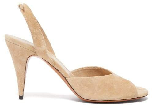 Swing Suede Slingback Sandals - Womens - Beige