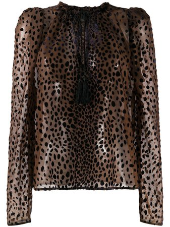 Pinko Leopard Print Sheer Blouse - Farfetch