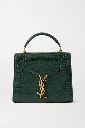Cassandra Mini Croc-effect Leather Tote - Green