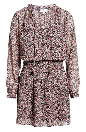 Socialite Long Sleeve Smocked Waist Chiffon Minidress | Nordstrom