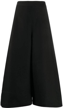 contrast lining wide-leg trousers