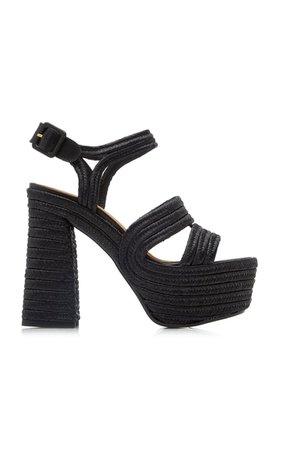 Raffia Platform Sandals By Castañer   Moda Operandi
