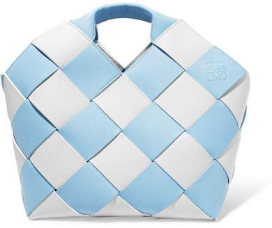 Two-tone Woven Leather Tote - Blue