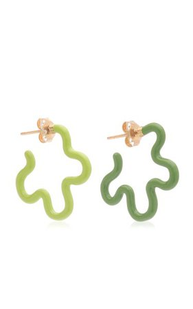 Two Tone Asymmetrical Flower Earrings By Bea Bongiasca | Moda Operandi