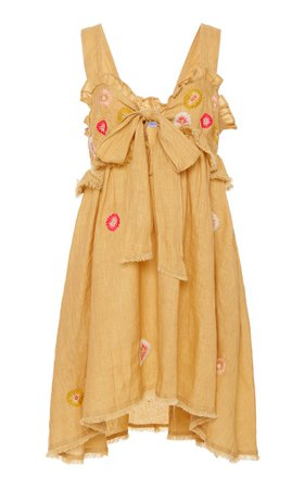 Valentina Embroidered Linen Mini Dress by Thierry Colson | Moda Operandi