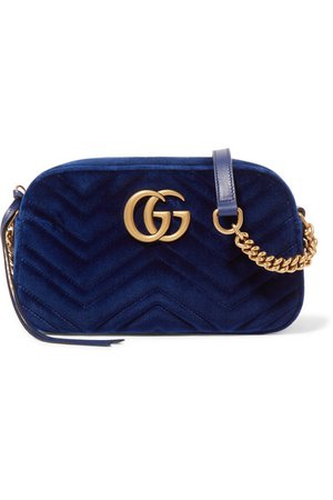 Gucci | GG Marmont small quilted velvet shoulder bag | NET-A-PORTER.COM