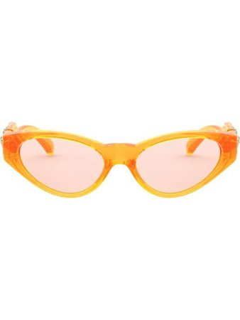 Versace Eyewear Oval Frame Glasses VE43735311U8 Orange   Farfetch