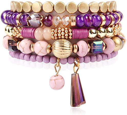 Amazon.com: RIAH FASHION Bohemian Mix Bead Multi Layer Versatile Statement Bracelets - Stackable Beaded Strand Stretch Bangles Sparkly Crystal, Tassel Charm (Purple): Jewelry