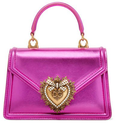 Devotion Mini Embellished Metallic Leather Tote - Magenta