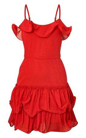 Red Chiffon Frill Hem Bodycon Dress   PrettyLittleThing USA