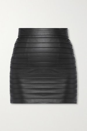 Paneled Leather Mini Skirt - Black