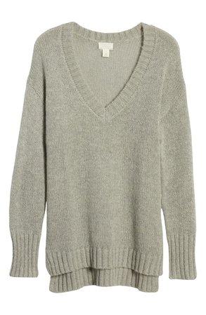 Caslon® V-Neck Sweater grey